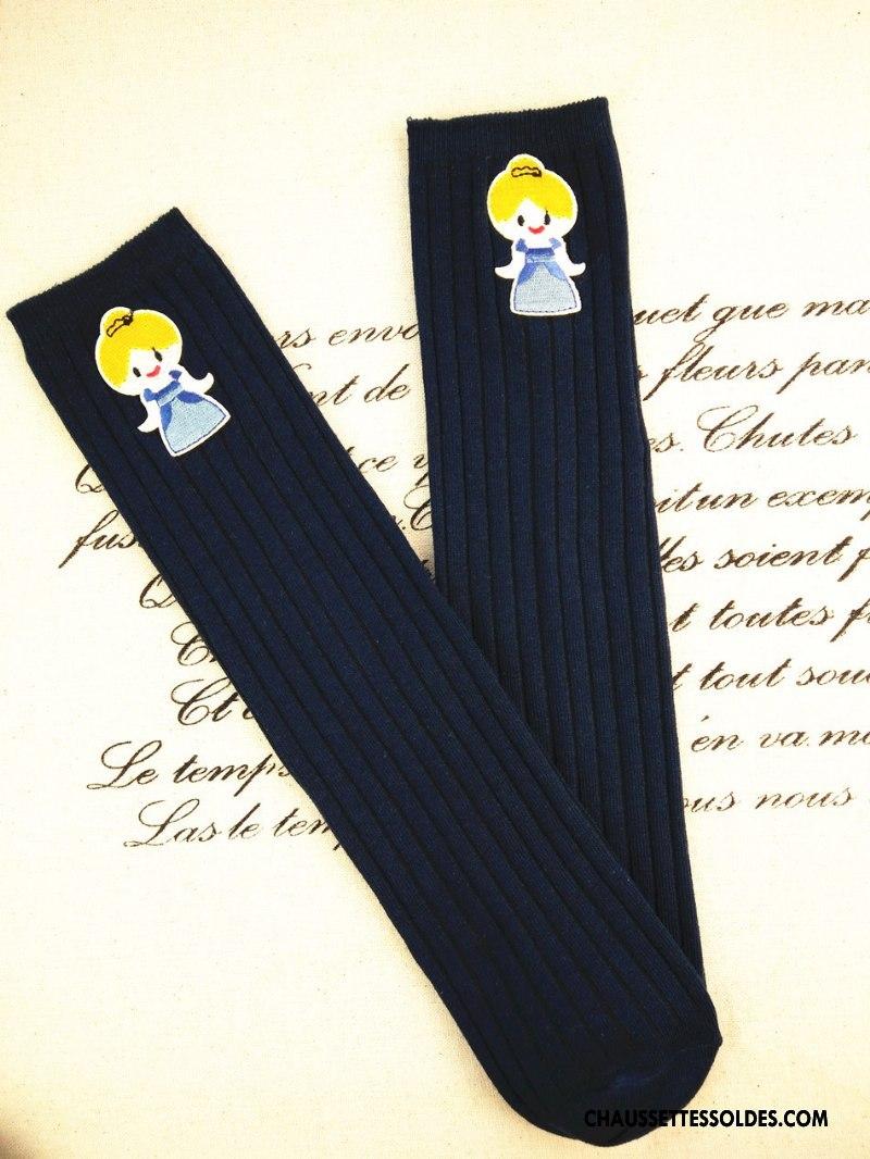 Chaussettes Mi Hautes Fille Le Nouveau Long Stock Princesse Matelassé 100% Coton Brodé Bleu Blanc