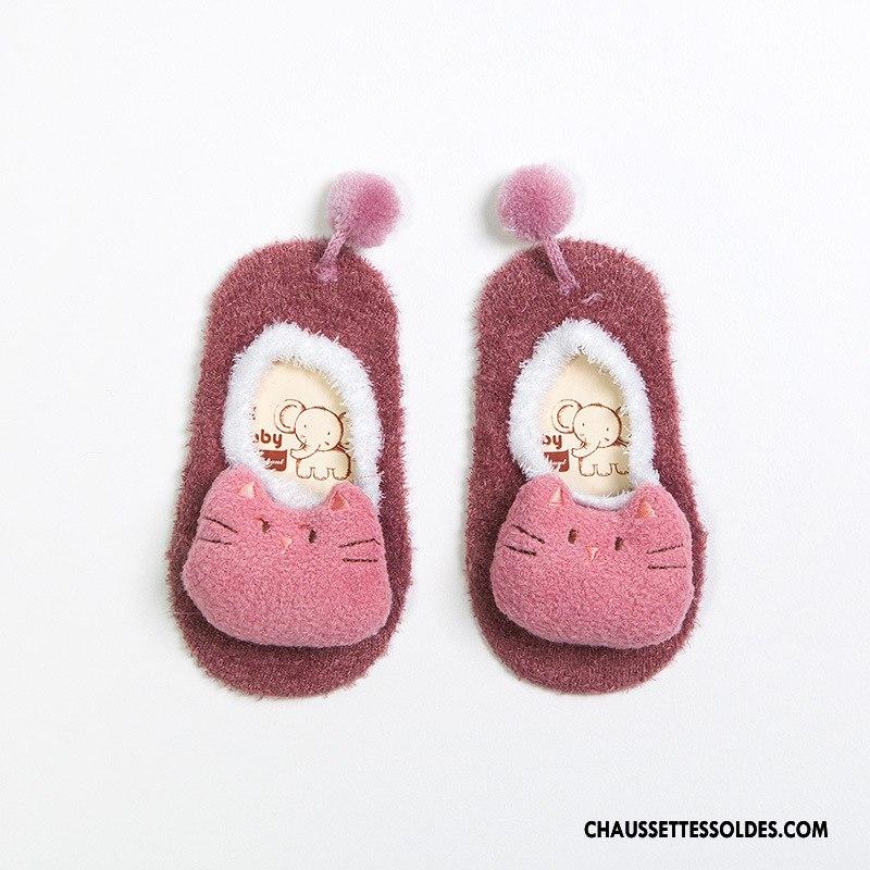Chaussette Basse Fille Enfant Dessin Animé Printemps Yarn Plume Bébé Rose