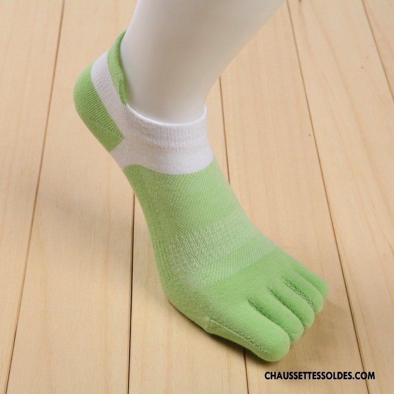 Chaussette Basse Homme Printemps 100% Coton Cinq Doigts Tendance Anti-odeur Courte Vert