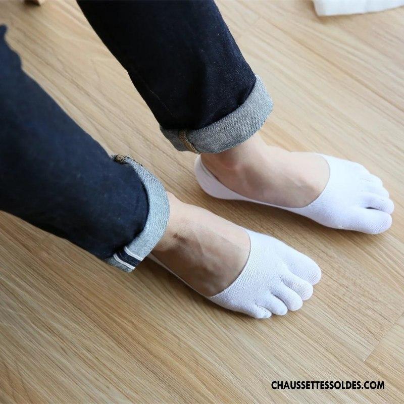 2019 original fournisseur officiel acheter authentique Chaussettes Invisibles Homme Chaussette Courte Personnalité Été Coton Bio  Silicone Cinq Doigts Blanc Clair