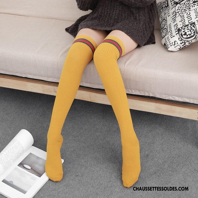 dernière sélection Excellente qualité nouveau style et luxe Chaussettes Longues Femme Charmant Le Nouveau Long Stock Simple Élève  Créatif Jaune