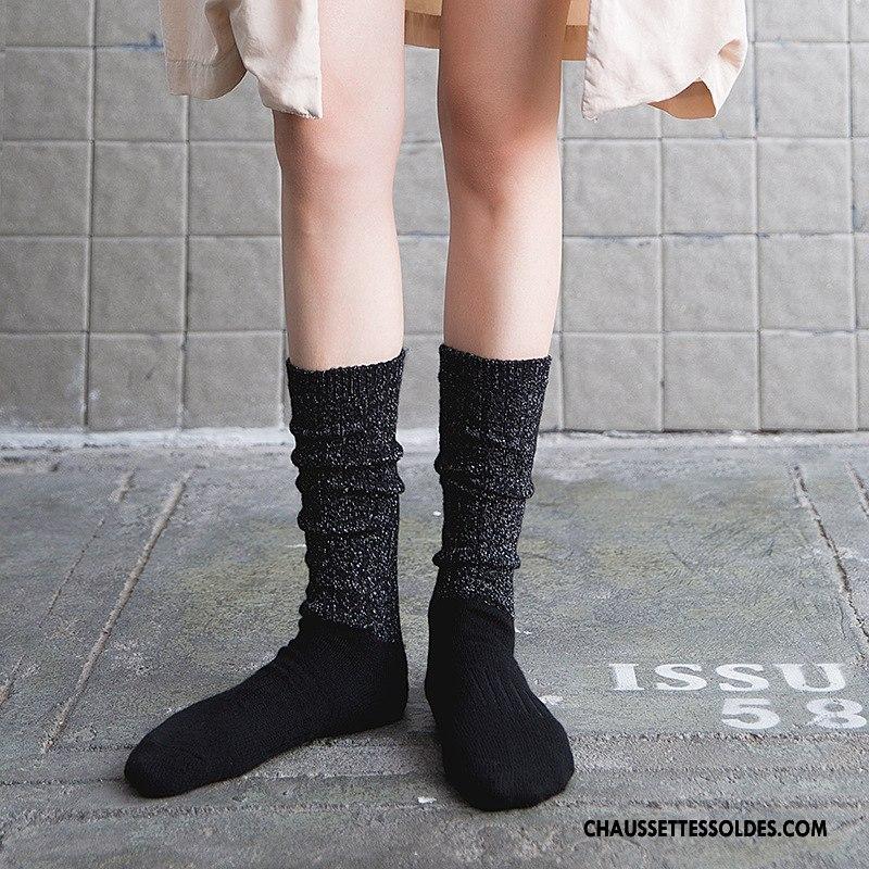 a5bb7a8a94a Chaussettes Longues Femme Dame Hiver L automne Long Stock Noir Or Argent