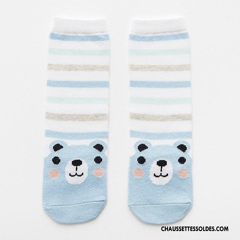 Chaussettes Longues Fille Dimensionnel 100 Coton Animal Enfant Dessin Animé Bande De Couleur Bleu Clair