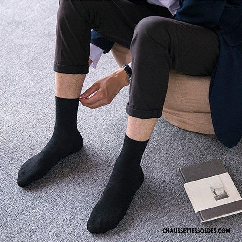 vendu dans le monde entier nouveau concept mode Chaussettes Mi Hautes Homme Milieu Coton Bio Mouvement Hiver L'automne Pure  Noir